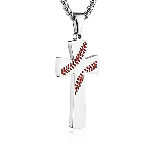leelly Baseball Cross Pendant, I CAN DO All Things Strength Bible Verse Stainless Steel Necklace 22