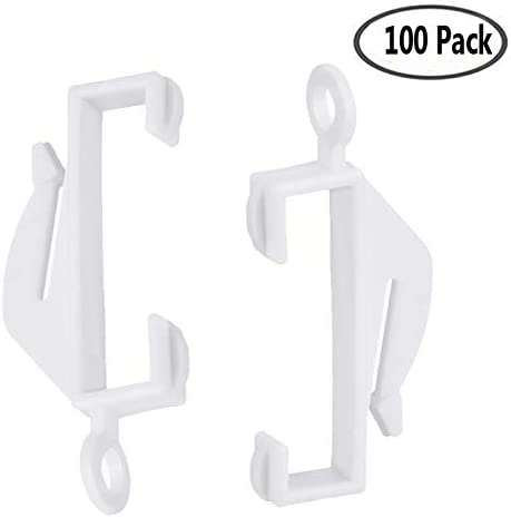 IPEAK Curtain Rail Track Glider Hooks Pack of 100 White Plastic Sliding Hook Gliders