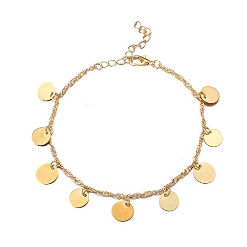 (Fashion Retro Chain Round Piece Sequin Pendant Alloy Single Layer Anklets for Women (Gold))
