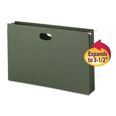3 1/2 Inch Hanging File Pockets with Sides, Legal, Standard Green, 10/Box, Sold as 10 Each ()