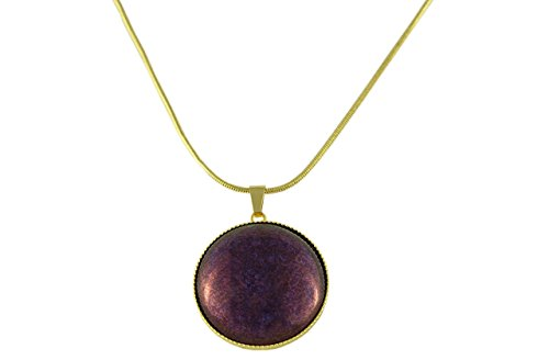 24K Gold Plated Round Pendant Necklace 25mm Snake Chain 42cm Terracotta Crystal Vega Purple Czech Glass Stone Handmade (24k Purple Pendant)