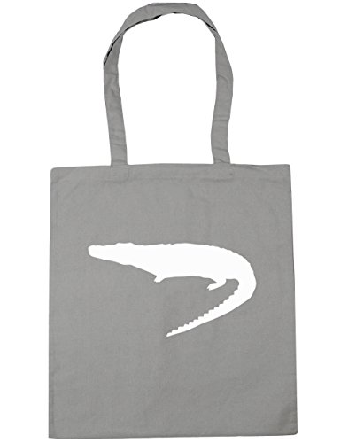 HippoWarehouse cocodrilo Tote Compras Bolsa de playa 42cm x38cm, 10litros gris claro
