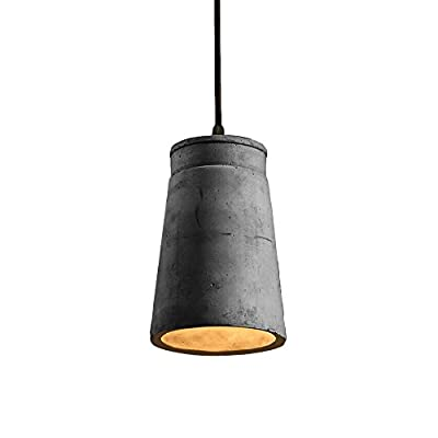Vintage Cement Pendant Lamp, Motent Industrial Modern Minimalist Concrete Hanging Lampshade in Grey Finish Antique Simplicity Flush Mounted 1-Light Ceiling Lighting Fixture for Kitchen Loft Resturant