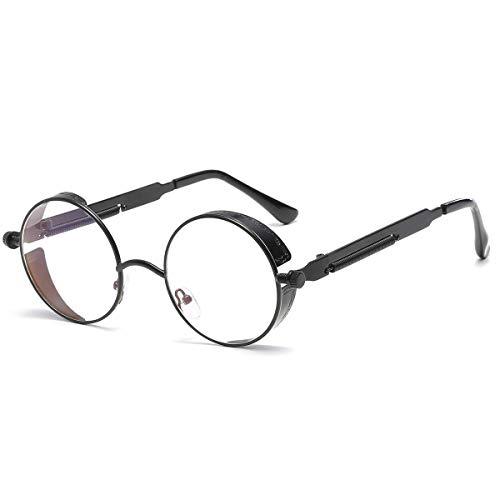 Dollger Vintage Steampunk Sunglasses for Women Men Retro Metal Round Circle Frame Sunglasses(Transparent lens/Black ()