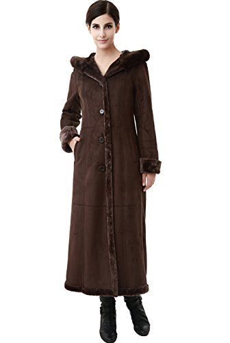 BGSD Women's Pauline Hooded Faux Shearling Maxi Coat - Chocolate ()