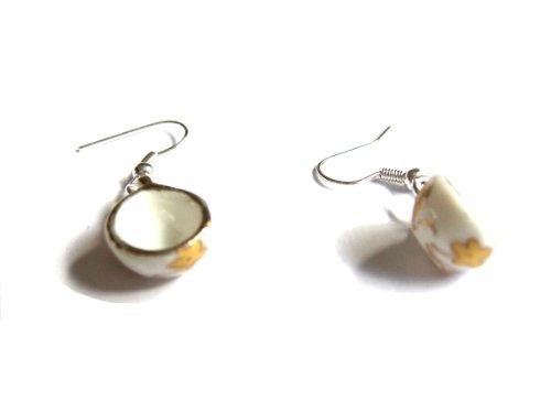 Teacup Ohrringe: Gold Leaf Keramiktassen mit Geschenk-Box