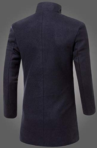 Breasted TTYLLMAO Single Men Casual Black Pea Stand Blend Collar Wool Coat Hww1qxCX7