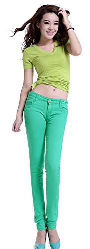 Jeansian Mujeres Candy Fashion colores Solid Pencil pantalones Slim Fit Skinny Jeans Stretch pantalones caliente W099 Green_19