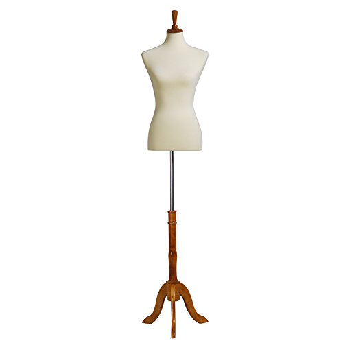 SONGMICS Female Mannequin Torso Body Form with Adjustable Tripod Stand, Medium Size 6-8, 34