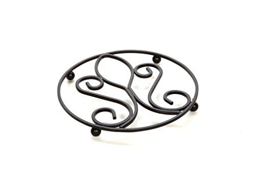 """Hosley Wrought Iron Trivet-Victorian Pattern. 7.2"""" Diameter / Assorted Pattern. Raised base protects your counters, tables from watermarks and scratches. Ideal for house warming, weddings. O4"""