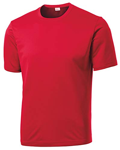 Men's Short Sleeve Moisture Wicking Athletic T-Shirt, Red