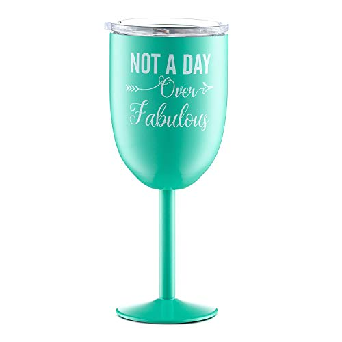 Unique Gifts for Women and Men |Not a Day Over Fabulous| Funny Birthday Wine Gifts Ideas for BFF, Best Friends, Coworkers, Her, Wife, Mom, Daughter, Sister, Aunt | Amzyt Stainless Steel Wine Glass