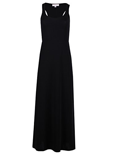 Jersey Knit Tank Dress (Taylor Perform Women's Sleeveless Casual Tank Racerback Maxi Long Dresses (2X-Large, Solid Black))