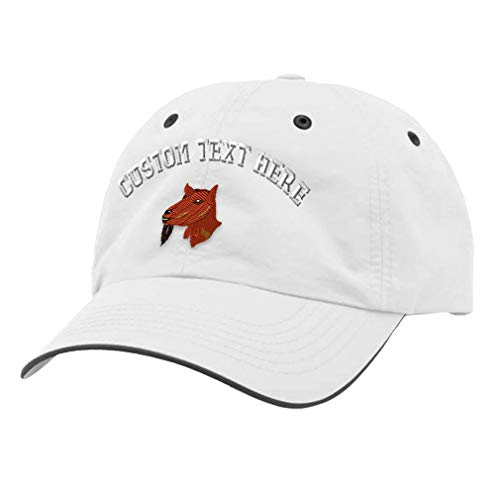 Custom Text Embroidered Oberhasli Goat Unisex Adult Hook & Loop Polyester Richardson Water Repellent Adjustable Cap Unstructured Hat White/Charcoal