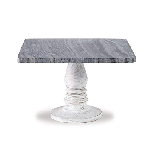 - Mud Pie 4264590 Whitewash Marble Pedestal Serving Board One Size White, Grey