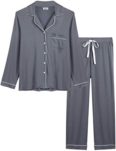 Joyaria Ladies Soft Pajama Sets Button Up Jersey Knit Lounge Pj Pants Set Winter Sleepwear (Gray, Large) ()