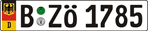 Custom Vanity Plates - German Berlin License Plate - Europlate Printed With Random Characters