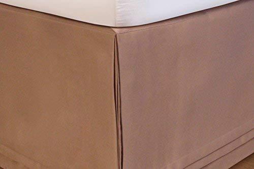 SKB Family HUYS-Matte Satin HUYS Bed Ruffle - Taupe Elegant Adjustable Skirt Home