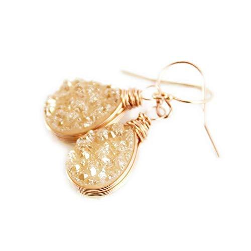 - Champagne Druzy Rose Gold Teardrop Earrings
