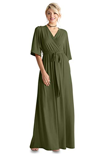 Flowy Long Maxi Wrap Dresses for Women with Tie Belt Plus Size and Reg. - Made in USA (Size Small US 2-4, Olive)