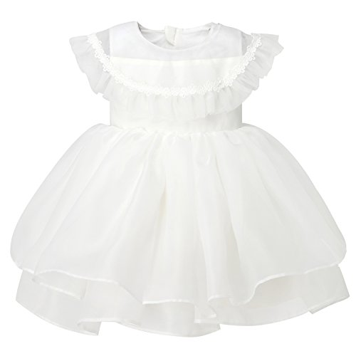 Sweetie Pie Satin Organza Dress (Hanakimi Organza Capped Knee-length Special Occasion Dress JMK1631 (85cm, White))