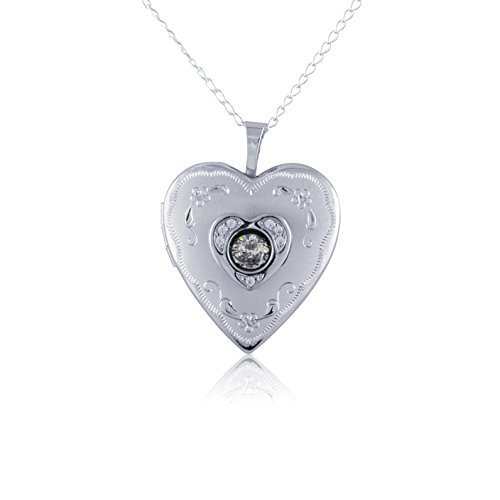 (Sterling Silver Heart Shape Lockets - Available in Various Sizes and Adorable Designs (Floating Crystal Design,)