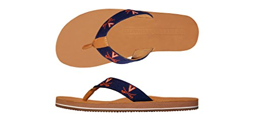 Smathers & Branson University of Virginia Handstiched Needlepoint Men's Flip Flop Sandals - Size 8
