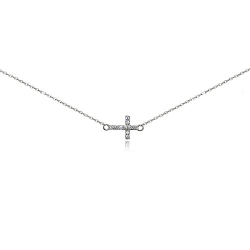 Sterling Silver Cubic Zirconia Sideways Cross Choker Necklace by GemStar USA