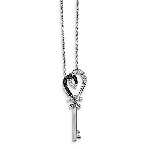 - 925 Sterling Silver Rhod Plated Black White Diamond Heart Key Pendant Charm Necklace Neck S/love Fine Jewelry Gifts For Women For Her