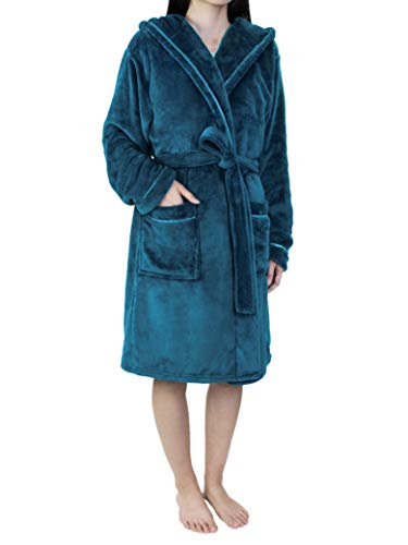 - Women Soft Fleece Hooded Robe Satin Trim | Short Knee Length Plush Warm Bath Spa Robe Hood
