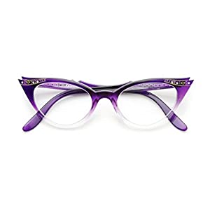 WebDeals - Cateye or High Pointed Eyeglasses or Sunglasses Vintage Inspired Fashion (Purple Fade Frame Clear)…