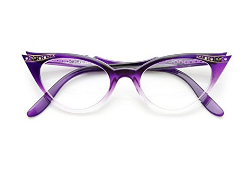 WebDeals - Cateye or High Pointed Eyeglasses or Sunglasses Vintage Inspired Fashion (Purple Fade Frame - Fashion Glasses High