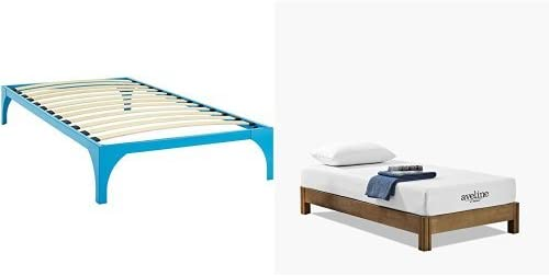 """Modway Ollie Twin Bed Frame in Light Blue with Modway Aveline 8"""" Gel Infused Memory Foam Twin Mattress With CertiPUR-US Certified Foam"""