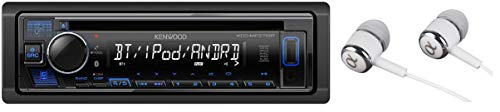 Kenwood Car Single DIN in-Dash CD MP3 Stereo Receiver USB AUX Inputs Built-in Bluetooth Dual Phone Connection iPod iPhone Control AM FM Radio Player W Free ALPHASONIK Earbuds