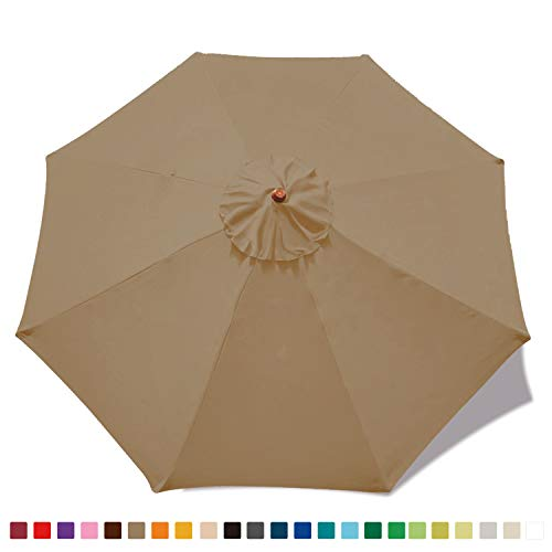 ABCCANOPY 23+ Colors 9ft Market Umbrella Replacement Canopy with 8 Ribs (Khaki)