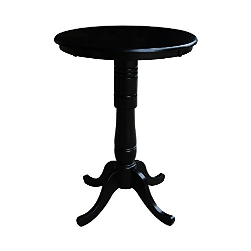 International Concepts 30-Inch Round by 42-Inch High Top Ped Table, Black