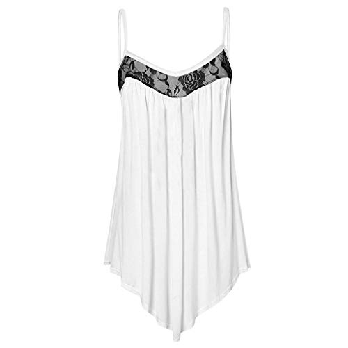 Tantisy ♣↭♣ Women's Plus Size Lace Camis Summer Casual Irregular Tank Tops Multicolor Multi-Code (S-5XL) White ()
