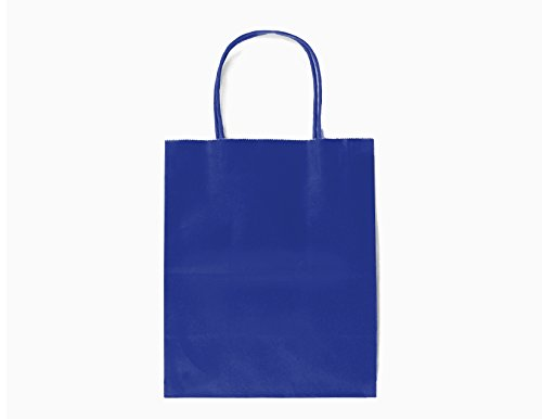 24CT MEDIUM ROYAL BLUE BIODEGRADABLE, FOOD SAFE INK & PAPER, PREMIUM QUALITY PAPER (STURDY & THICKER), KRAFT BAG WITH COLORED STURDY HANDLEs (Medium, Royal blue) (Royal Gift Blue Bags)