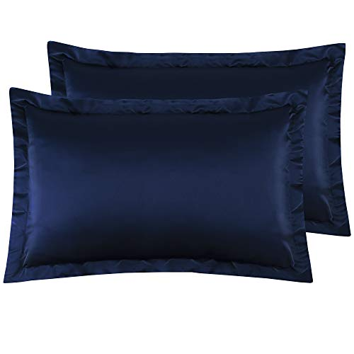 NTBAY Queen Shams Set of 2, Pillowcases, Silky Satin, for Hair, Super Soft and Luxury, Navy - Blue Satin Silky