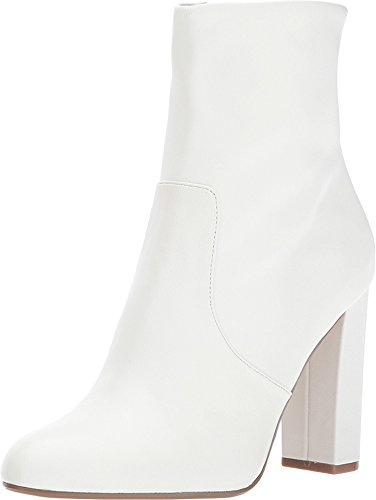 Steve Madden Women's Editor Ankle Boot, White Leather, 7.5 M US