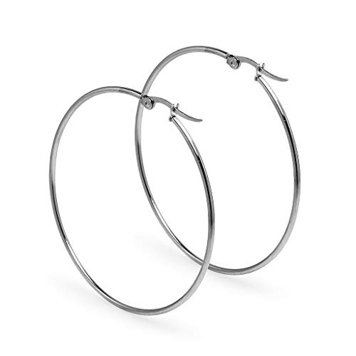 I Jewel - Round Tube Click Top Hoop Earrings | Stainless Steel Mirror Finish Size 60mm