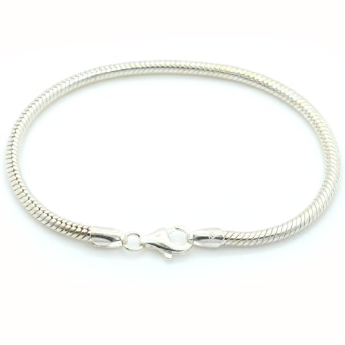 Pro Jewelry (Available All Size) Authentic 925 Sterling Silver Starter Charm Bracelet Lobster Claw Clasp (8.2 Inches) (Sterling Starter Silver)