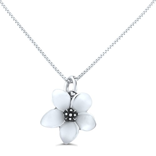 Sterling Silver Small Plumeria Flower Necklace (18