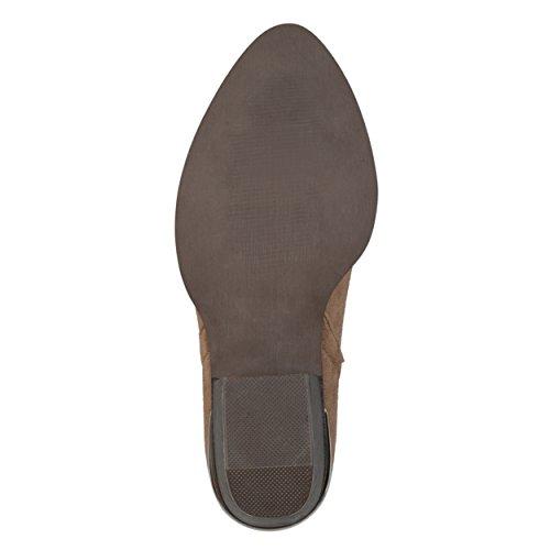 Stacked Womens Brinley Co Metal Booties Side Faux Slit Taupe Wood Detail Suede Heel IgwBAwqn4x