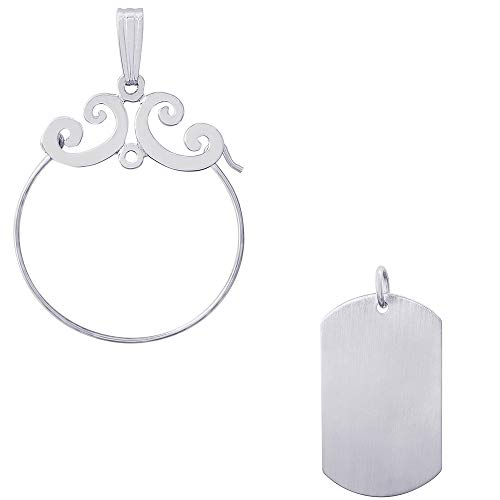 Rembrandt Charms Dog Tag Satin Finish Charm on a Rembrandt Charms Carefree Charm Holder