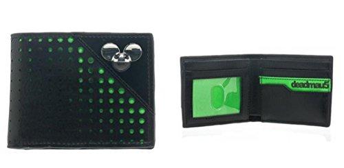 DEADMAU5 Metal Logo Green Dot Black Bifold WALLET by Deadmau5