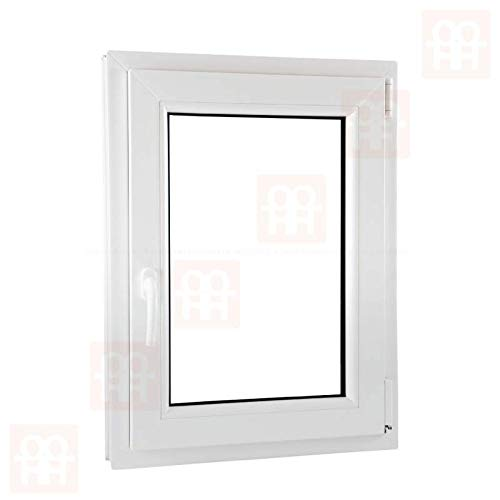 6 Kammern dreh-kipp | wei/ß rechts 60 x 80 cm Kunststofffenster 600 x 800 mm