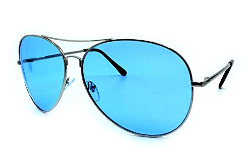 O2 Eyewear 215SD Premium Oversized XXL Aviator True Oversize Huge Sunglass Womens Mens (BLUE, ()