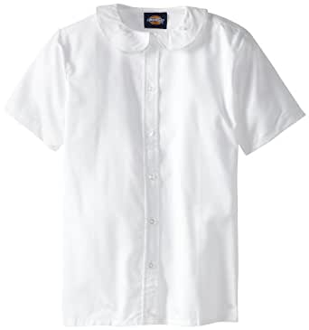 Dickies girls 39 short sleeve peter pan collar for Button down uniform shirts