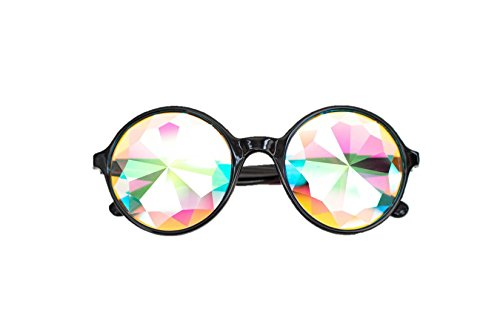 [Premium Black NOXIK Kaleidoscope Glasses - Best Rave Diffraction Glass Crystal Lenses] (Festival Costume For Men)